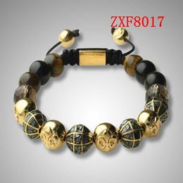 Wholesale quot factory quot Nialaya Alloy point drill Earth beads Bracelets Shamballa Strip alloy Weave Best Sellers Popular tiger stone crystal Bracelet