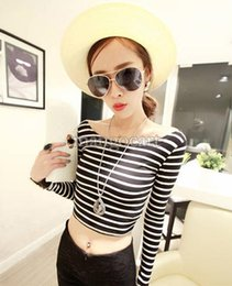 2014 new arrival summer Sexy Women Boat Neck Crop Striped Long Sleeve Slim Blouse Tops t-shirt #010 SV002511
