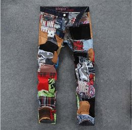 Wholesale New fashion mens color patchwork washed jeans male personality denim skinny pants mens casual slim jeans