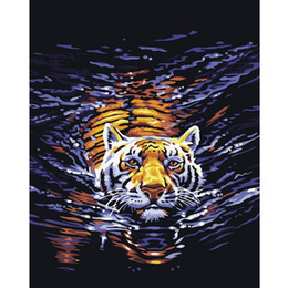 Wholesale Handpainted Set DIY Digital Oil Painting By Numbers Modern Abstract Tiger Pictures Frameless Canvas Wall Decoration For Home