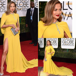 2016 73th Golden Globe Awards Celebrity Dresses Jennifer Lopez Yellow Crew Neckline Chiffon Mermaid Floor Length Evening Red Carpet Dress