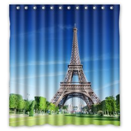 Wholesale Bathroom Shower Curtain Waterproof Print Eiffel Tower Night Scenery Photo Bath Screen66x72 Inch With Hooks