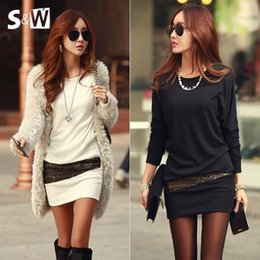 Wholesale Sexy Girls Mini Clothes - Women Clothes Cotton Fashion Dress Bronzing Female Clothes Girl Long Sleeve Black White Dress Casual Sexy Short Dress