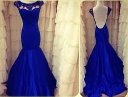 Actual Images Backless Evening Dresses Royal Blue Mermaid Jewel Neck Beaded Formal Dress Prom Pageant Dresses Gowns Custom