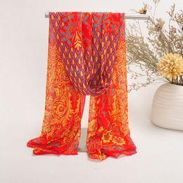 Mejores bufandas de moda en venta-Gasa impresa manera pañuelos para las mujeres mejor regalo para el día del pavo real Monther modelo magnífico bufandas 122