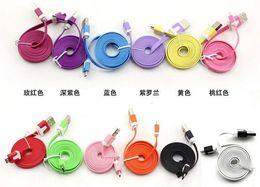 Descuento cargos cables iphone Piso pequeño delgado fideos cable de carga del cargador de datos USB Cables de Sincronización para la galaxia S3 S4 HTC UNO M8 LG G2 SONY