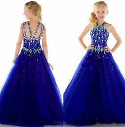 2015 New Tulle Royal Blue Cheap Beauty Pageant Dresses for Girls Formal Long Sexy Girl Dress For Weddings Custom Size