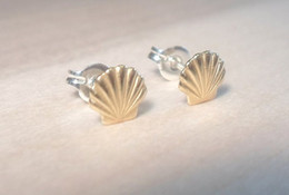 1Pair- S038 Gold Silver Sea Shell Earrings Seashell Stud Earrings Beach Conch Earrings Nautical Ariel Mermaid Studs Jewelry