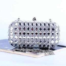 Wholesale Factory brand new handmade sparkles evening bag clutch purse with satin PU for wedding banquet party porm(More colors)