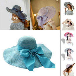 Sexy Women Wide Brim Bow Foldable Floppy Hat Bowler Vacation NVIE order<$18no track