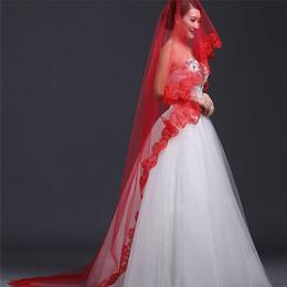 Wedding Veil Fashion Womens Net Yarn and Lace Edge Long Veil Hot Womens Elegant One Tier Bridal Veil