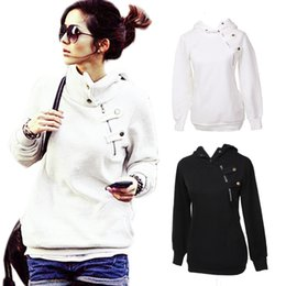 Womens Hoodies Sweatshirt Hoody Pullovers Jumper Casual Pockets Zipper Button Long Sleeve Solid 2015 New Free Shipping