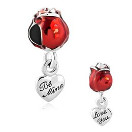 Valentine's Day red rose Dangle charm metal slide Spacer bead European fit Pandora Chamilia Biagi charm bracelet