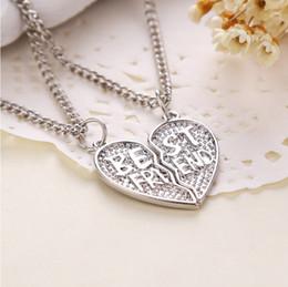 2015 Nueva joyería pendiente del collar de la placa de plata del MEJOR AMIGO de las piezas 2 del corazón roto 2 del estilo para el mejor amigo X-587 desde piezas de joyería de moda fabricantes