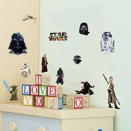 Wholesale Top Star Wars Style D Wall Stickers Removable Children s Bedroom Living Room Wallpaper Green Living Water Typesetting Size cm