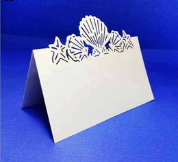 Wholesale-LASER CUT Paper Place Cards Seashell Wedding Party Invitation Table Decoration MORE COLORS