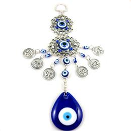 Antique Silver Turkish Blue Evil Eyes Coins Tassel Pendant Hanger Jewelry for Home Car Decoration