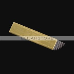 Wholesale 100pcs JM611D X2 flat Permanent Makeup Manual Pin Needle Blade Tattoo Products For Eyebrow Pen Machine