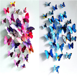 12 pcs lot Magnetic 3D Butterfly Wall Sticker Art Decal Wall Stickers Home Decor Rooms Adhesive to Wall Decoration De Parede