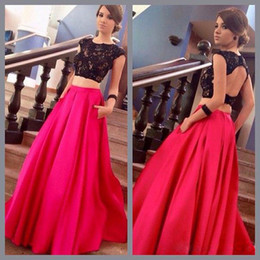 2016 Two Pieces New Arrival Fuchsia Black Prom Dresses Cap Sleeves Lace Beaded Top Satin Floor Length Party Evening Gowns