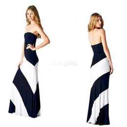 Hot Sale Sexy Ladies Design Long Strapless Stripe Viscose Dresses Striped Maxi Dress Black White Jersey FreeShipping b9 SV004445