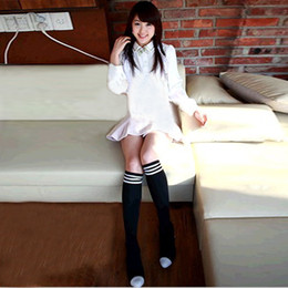 Wholesale-12pairs lot women knee high socks cotton students dress socks striped leg warmer free shipping