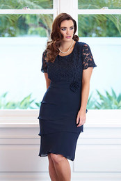 Elegant Sheath Knee Length tiered Chiffon Dark Blue Short Lace Mother Of The Bridal Dress With Short Sleeve