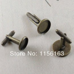 Wholesale pieces inner mm round antique bronze plated French cuff link blank settings qy1240 Tie Clips amp Cufflinks