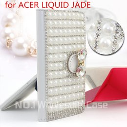 Wholesale 2015 top fashion D Luxury Bling for ACER LIQUID JADE Flip Bling leahter skin bag mobile phone case cover Diamond crystal holder wallet