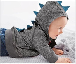 Wholesale 2015 Small Baby Boys Dinosaur Hoodies Gray Black Zipper Hooded Outwear Kids Clothing Children Long Sleeve Sweatershirts Boy s Tracksuit