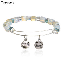 Wholesale Alex Ani Assorted Shimmering Crystal Beaded Bracelets Antique Silver Expandable Stainless Steel Wire Charm Bangle NWT AA201525