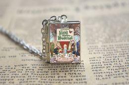 Wholesale 12pcs Alice s Adventures in Wonderland book Locket Necklace SILVER tone VISION z1z