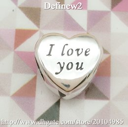 Wholesale New Antique Sterling Silver I love you charm Heart Charm Valentines Gift Charms Fits European Charm BraDFlets Women Jewelry DF488
