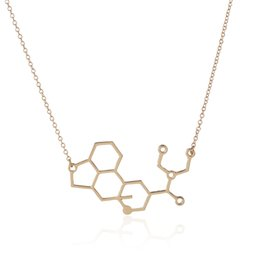 Wholesale Science Sale - Min 1pc 2015 New Fashion Hot Sale Arrival Gold and Silver Molecule LSD Necklace Chemistry Science Jewelry XL044