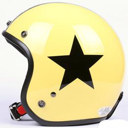 Al por mayor-HH # 16 Taiwan Ciclismo Motociclismo Casco de la vendimia amarillo brillante # Negro casco de la estrella UV Lens