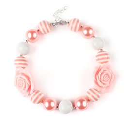 Wholesale 2015 Girls Chunky Bubblegum Beaded Flower Necklace Kids girl Cute Resin princess charms jewelry babies accessories