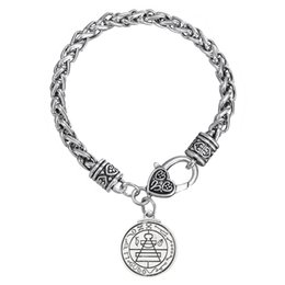 Wholesale 20pcs lot Religious Charm Zinc Alloy Antique Silver Plated Pendant Thick Link Chain Bracelet (BH110245)