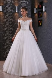 Hot Sale A Line V Neck Floor Length Ivory Organza Cap sleeve Wedding Dress With Off The Shoulder Beaded Lace Up Bridal Gowns
