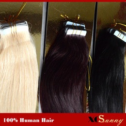 "XCSUNNY Tape In Hair Extension Remy 40 pieces 18"" 20"" 100g Skin Weft Hair Extensions Wholesale Malaysian Virgin Human Hair"
