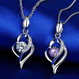 Fashion New Wedding Love Heart Pendant 30% 925 sterling silver+white copper Purple Silver Austrian Crystal Women Pendant Necklace