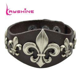 Wholesale-Hip Hop Jewelry Rock Style Pu Leather Metal Arrowhead Decoration Wide Wrap Bracelets Bangles for Women and Men