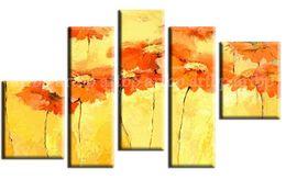 Wholesale Set Painting Wall Orange - Abstract Oil Painting On Canvas Flowers Painting Orange Chrysanthemum Yellow Panel Paintings Home Decor Wall Art 5Pcs Set