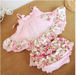 Wholesale Hot summer children suit baby girls Bow floral falbala suspender swing tops floral falbala bloomers Briefs babies clothing A5637