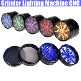 Wholesale Top Grinder Lighting Machine CNC Layers Herbal Grinders mm Aluminium Alloy Clear Tooth filter net Sharpstone dry herb vaporizer pen vapor