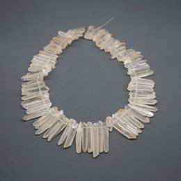 56pcs 1Strand Raw Yellow Longer Crystal Quartz Rock Crystal, Natural Raw Freeform Spikes Points Drilled Briolettes, 15.5 Inch Women Necklace