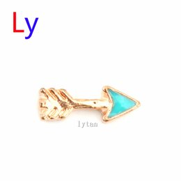 Wholesale Fashion Jewlery Findings gold Arrow DIY Alloy Floating Charms Fit For Magnetic Glass Living Locket MFC1567