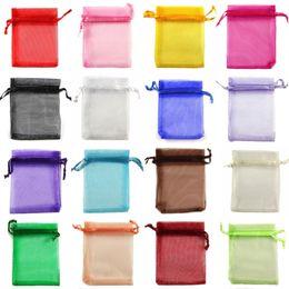 5*7 7*9 9*12 13*18 15*20cm Drawstring Organza bags Gift wrapping bag Gift pouch Jewelry pouch organza bag Candy bags package bag mix color