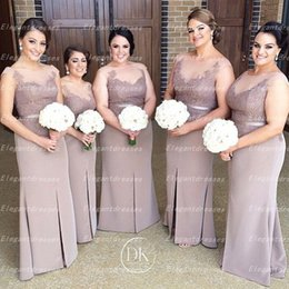 2019 Illusion Neck Cap Sleeves Long Bridesmaid Dresses Sheath Prom Dresses Long Maid Of Honor Gowns Evening Gowns