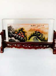 Wholesale New arrival Chinese traditional screen with crystal painting built in the Great Wall ink painting collectable arts and crafts