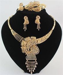 African Jewelry Sets Statement Necklace Bracelet Ring Earring 18K Gold Plated Rhinestone Fashion Women High Quality Set 10Set lot